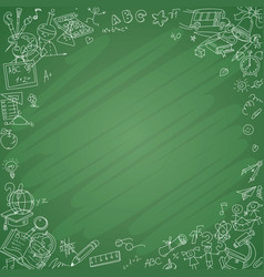 White school icons with blackboard background vector