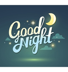 wish good night on dark green sky backgro vector image