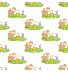 easter bunny and lamb seamless pattern vector image vector image