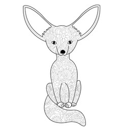 fennec fox coloring book for adults vector image