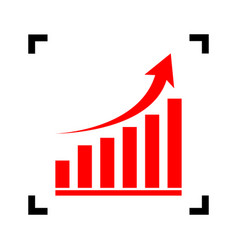 growing graph sign red icon inside black vector image