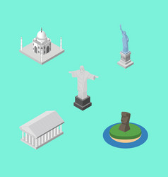 isometric cities set of chile new york rio and vector image
