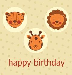 Jungle animals happy birthday vector image