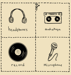 music equipment doodles set vector image