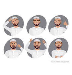 muslim arab man character set of avatars vector image vector image