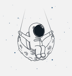 spaceman sits on the crescent moon vector image vector image