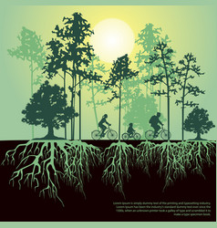 split trees and roots family riding bicycles vector image