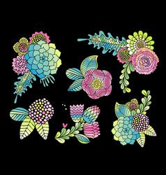 succulent rose and leaf flower set vector image