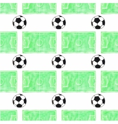 Watercolor seamless pattern with ball and football vector image vector image
