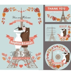 Wedding invitationautumn leaveseiffel tower vector