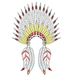 zentangle War Bonnet with color feathers vector image vector image