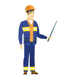 asian builder holding pointer stick vector image