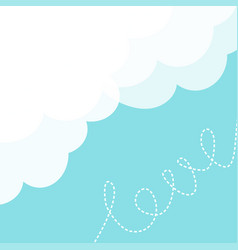 blue sky fluffy white cloud in the corner dash vector image vector image