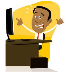 cartoon black businessman vector image