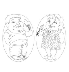 Fat man and woman eating ice cream and carrots vector
