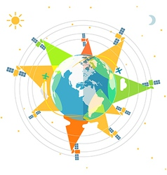 Flat design of the Earth in space and satellites vector image