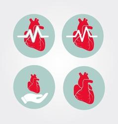 Human heart icon set with cardiogram and human vector image