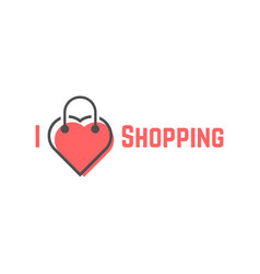 i love shopping with bag like heart vector image
