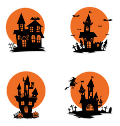 set of ghost houses halloween theme design vector image vector image