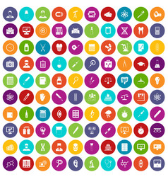 100 lab icons set color vector