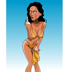 cartoon funny woman in a bathing suit showing vector image