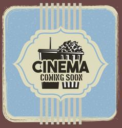 cinema retro poster pop corn and soda vintage vector image