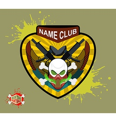 Paintball team logo and emblem scary skull in vector image vector image