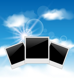 Set pictures on blue sky background vector image vector image