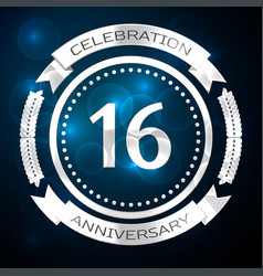sixteen years anniversary celebration with silver vector image vector image