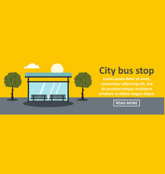 city bus stop banner horizontal concept vector image vector image