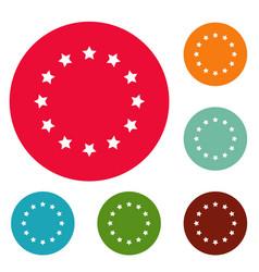 european union icons circle set vector image vector image