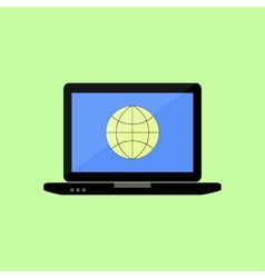 Flat style laptop with internet icon vector image vector image