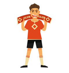 Football fan with symbolic scarf and angry face vector
