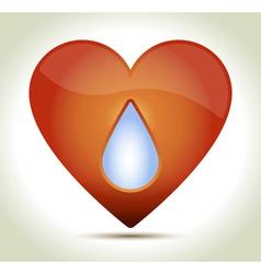 Red heart drop vector image