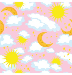 seamless sun and moon vector image