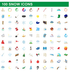 100 snow icons set cartoon style vector image
