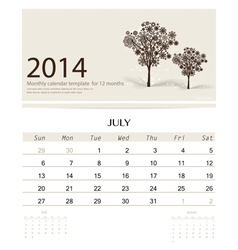 2014 calendar monthly calendar template for July vector