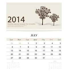2014 calendar monthly calendar template for July vector image