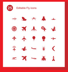 25 fly icons vector image
