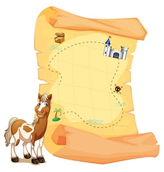A treasure map beside a smiling horse vector