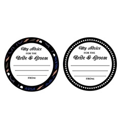 Advice for the bride and groom wedding card vector