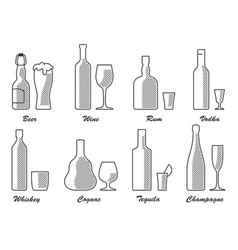 alcohol type set bw vector image
