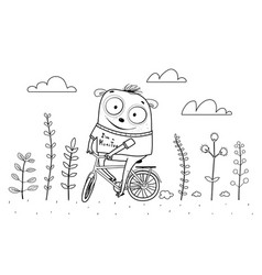 Animal monster riding bicycle outline for coloring vector