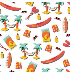 beach day seamless pattern palm tree vector image