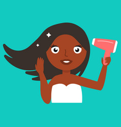 beautiful dark skinned girl blowing dry her hair vector image