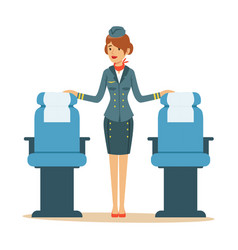Beautiful flight attendant near passenger seats vector