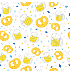beer and pretzel pattern vector image