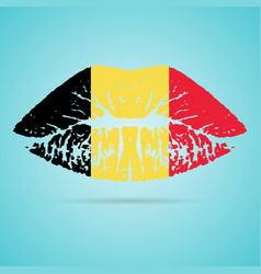Belgium flag lipstick on the lips isolated on a vector