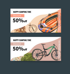 Camping voucher design with boat compass backpack vector