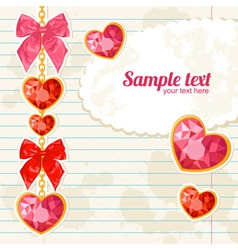 Card with Shiny ruby heart pendants hanging vector